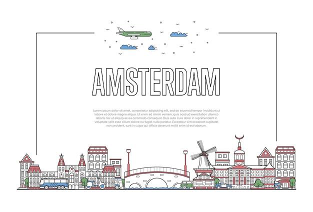 Podróż amsterdam szablon w stylu liniowym