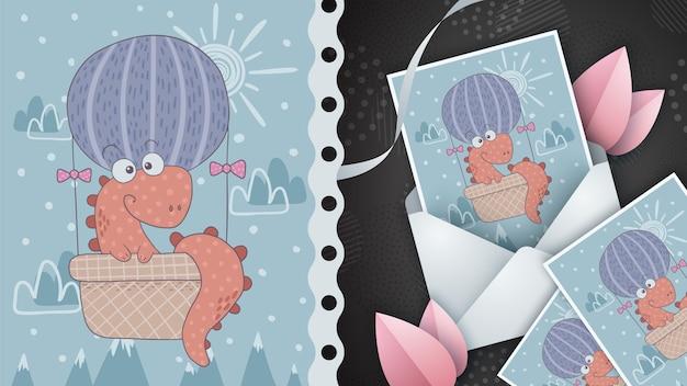 Podróż balonem pomysł na kartkę z życzeniami