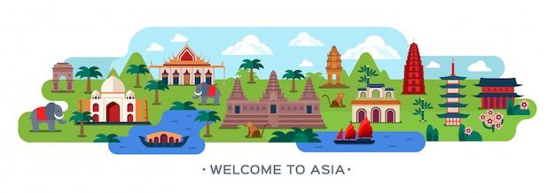Podróż do azji. azjatycki gród