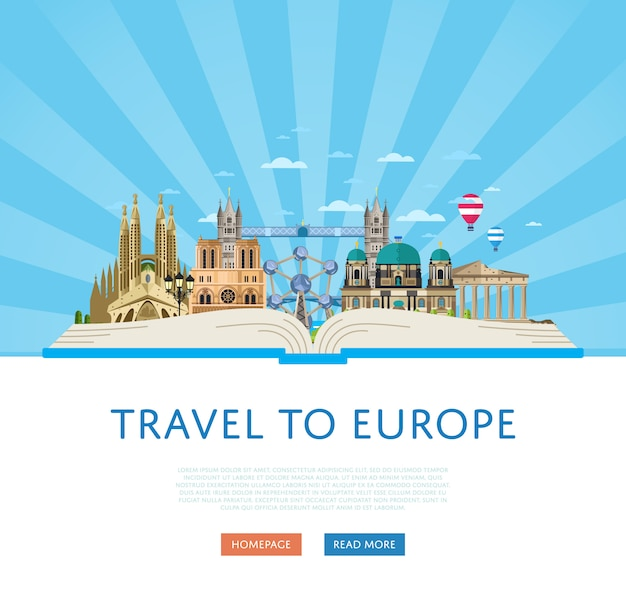 Podróż do europy szablon ze słynnymi atrakcjami.