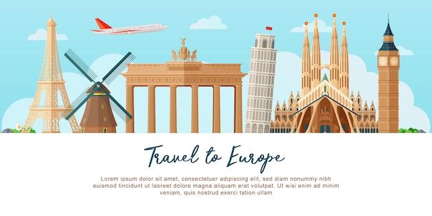 Podróż do europy w tle