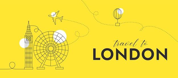 Podróż do londynu minimalna i prosta kompozycja z grafiką wektorową ilustracją liniową