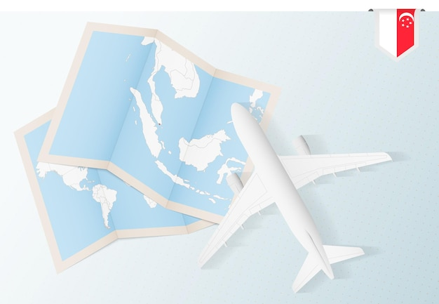 Podróż do singapuru, widok z góry samolot z mapą i flagą singapuru.