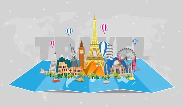 Podróż do świata. podróż samochodem. duży zestaw znanych zabytków świata. czas podróży, turystyki, wakacji. różne rodzaje podróży. płaska ilustracja