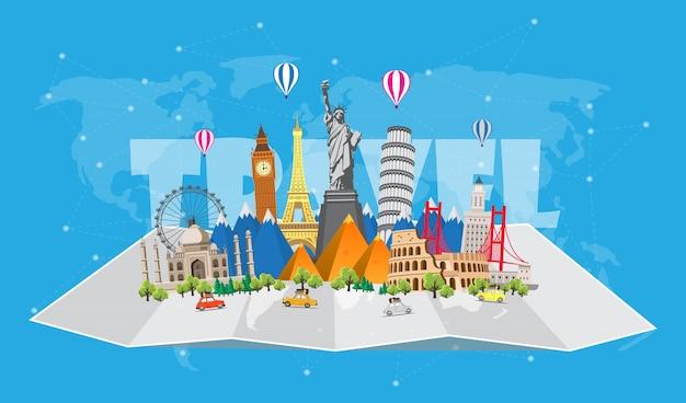 Podróż do świata. podróż samochodem. duży zestaw znanych zabytków świata. czas podróży, turystyki, wakacji.