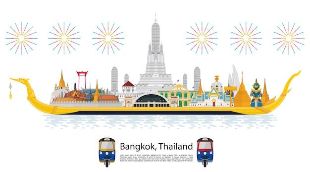 Podróż do tajlandii. golden palace do odwiedzenia w tajlandii w stylu płaskiej