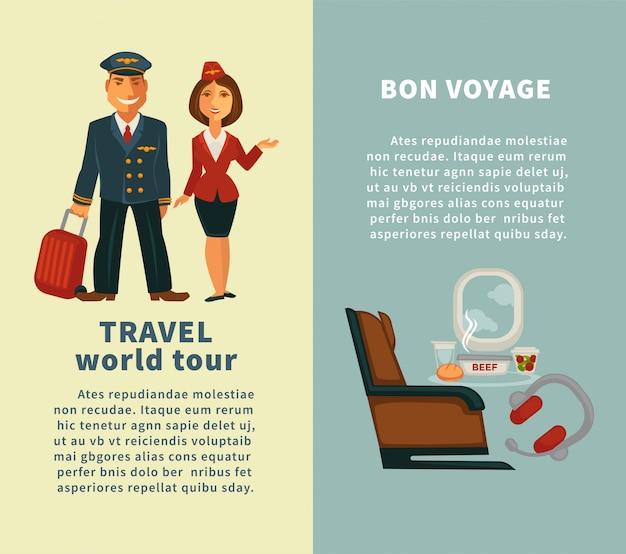 Podróż dookoła świata i pionowe plakaty bon voyage