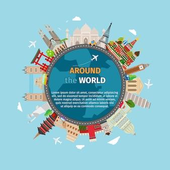 Podróż dookoła świata pocztówka. turystyka i wakacje, świat ziemi, podróż globalna.