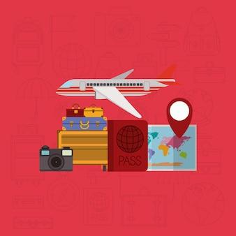 Podróż dookoła świata zestaw ikon