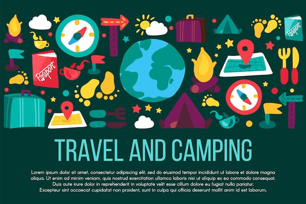 Podróż i camping transparent z lato. turystyka, wyjazdy wakacyjne, rekreacja przyrody, odpoczynek