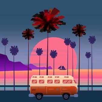 Podróż, ilustracja podróży. zachód słońca, ocean, morze, seascape surfing van bus na drodze palmowej