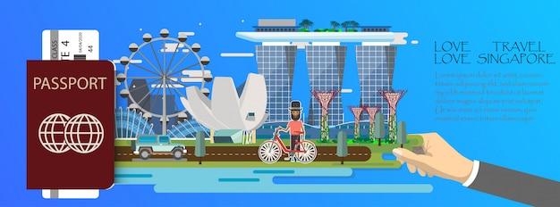 Podróż infografika plansza singapur infografika z zabytków singapuru