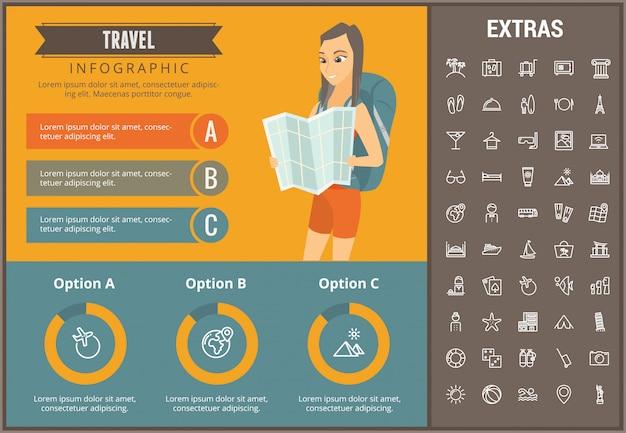 Podróż infographic szablon, elementy i ikony