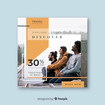 Podróż kwadratowy baner ze zdjęciem