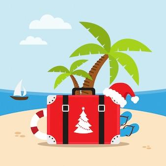 Podróż na plażę w święta bożego narodzenia