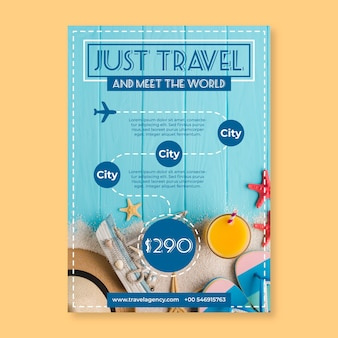 Podróż plakat szablon ze zdjęciem