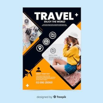 Podróż plakat / ulotka z szablonem fotograficznym