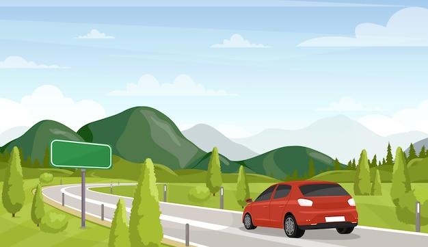 Podróż samochodem, ilustracja płaska wycieczka samochodowa. minivan na autostradzie i pusty, pusty znak drogowy. malowniczy krajobraz, piękna sceneria. letnie wakacje, wakacyjna przygoda. transport osobisty.