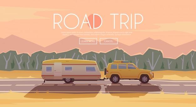 Podróż samochodem. ilustracja