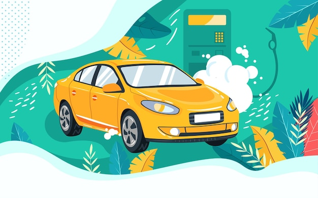 Podróż samochodem podróż podróż ilustracja pojazd tankowanie plakat bezpieczeństwa ubezpieczenia samochodu