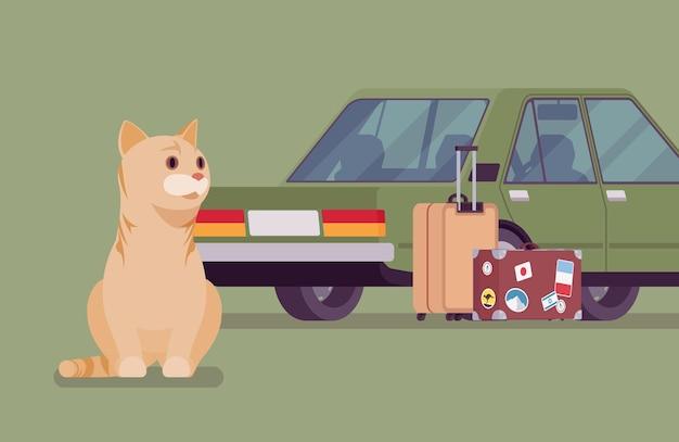 Podróż samochodem, wycieczka samochodowa z kotem. śliczny kociak boi się jazdy na aucie, przeprowadzki właścicieli i pozostawienia samotnego zwierzaka za sobą lub w internacie, jadąc razem na wakacje. ilustracja kreskówka wektor płaski