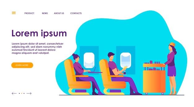 Podróż samolotem z komfortową płaską ilustracją.