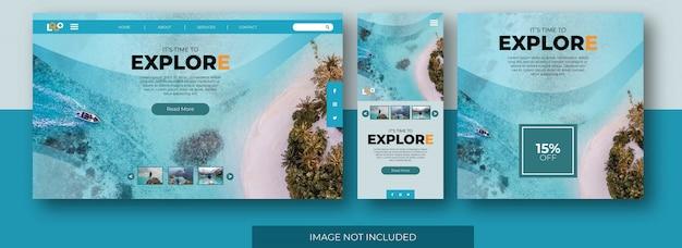 Podróż strona docelowa ekran aplikacji internetowej i szablon wiadomości z mediów społecznościowych z podglądem zdjęcia na plaży.