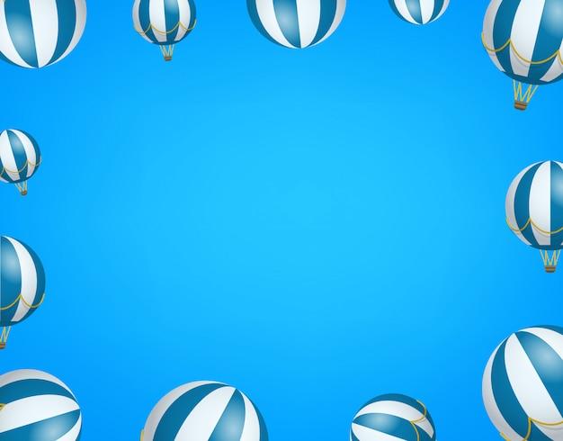 Podróż tapety z balonami. rama z miejsca na kopię