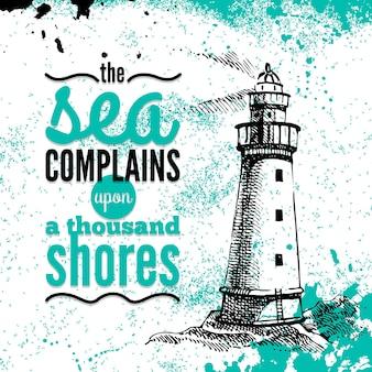 Podróż tło grunge. morski projekt nautyczny. ręcznie rysowane teksturowanej szkic ilustracji. projekt typograficzny