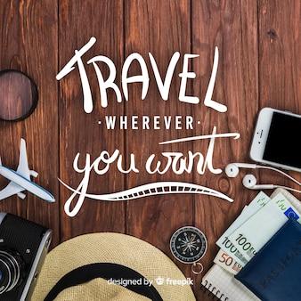 Podróż tło napis ze zdjęciem