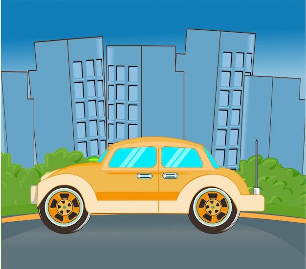 Podróż transport klasyczny samochód w mieście w nocy płaska konstrukcja