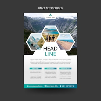 Podróż ulotka ulotka broszura szablon okładki, koncepcja sześciokąt