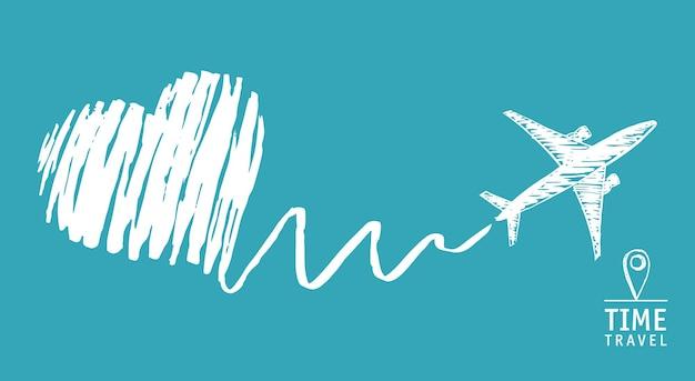 Podróż w czasie samolot narysował serce ręcznie rysowane ilustracje