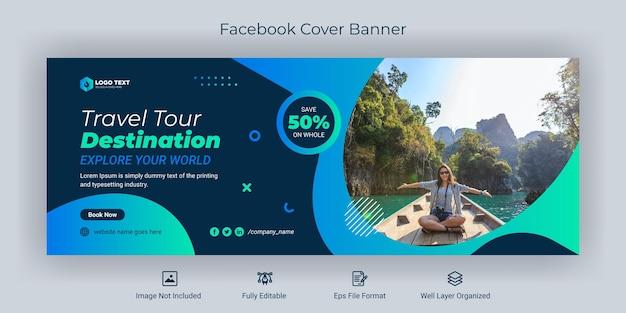 Podróż w mediach społecznościowych szablon banera na okładkę na facebooku