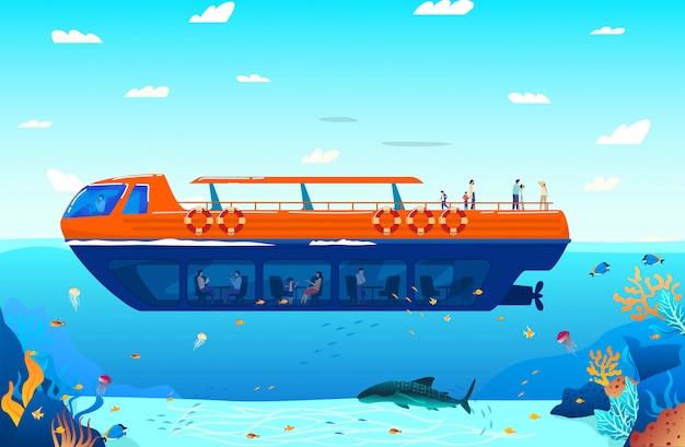 Podróż w tropikalnym morzu na woda transportu plakata ilustraci. rejs statkiem morskim, żaglówka unosząca się na wodzie oceanu z egzotycznymi rybami i foka.
