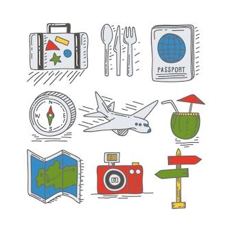 Podróż, wakacje i rekreacja doodle ikona i serii obiektów