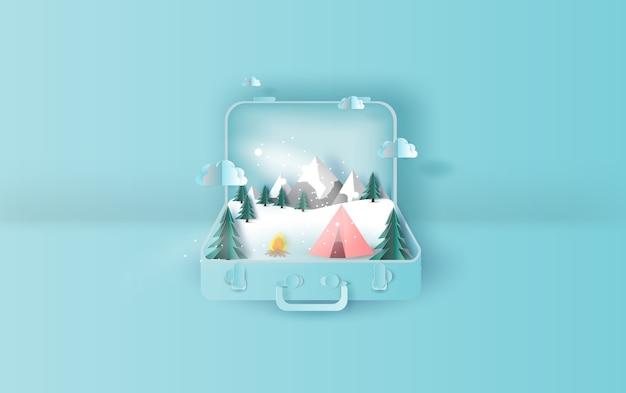 Podróż wakacje namiot camping wycieczka zima walizka