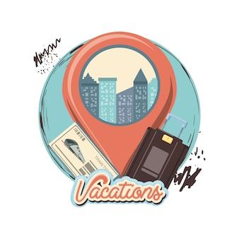 Podróż wakacje z pointer lokalizacja ikona wektor ilustration