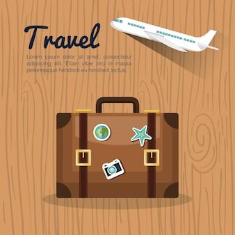 Podróż walizki retro samolot projekt
