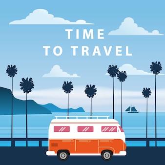Podróż, wycieczka ilustracja. zachód słońca, ocean, morze, pejzaż morski. surfing van, autobus na drodze palm beach. wakacje. palmowy tło na wycieczce samochodowej, retro, rocznik