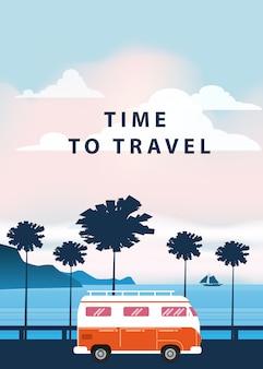 Podróż, wycieczka ilustracja. zachód słońca, ocean, morze, pejzaż morski. surfing van, autobus na drodze palm beach