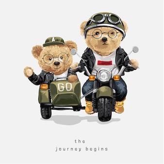 Podróż zaczyna się hasłem z niedźwiadkową parą lalek jadącą zabytkową ilustracją motocykla z bocznym wózkiem
