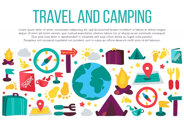 Podróże i camping szablon transparent płaski. urlop wakacyjny, turystyka, rekreacja dzikiej przyrody