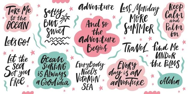 Podróże i morze odręczny napis cytaty. ilustracja wektorowa