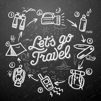 Podróże i przygoda doodle elementy grafika wektorowa