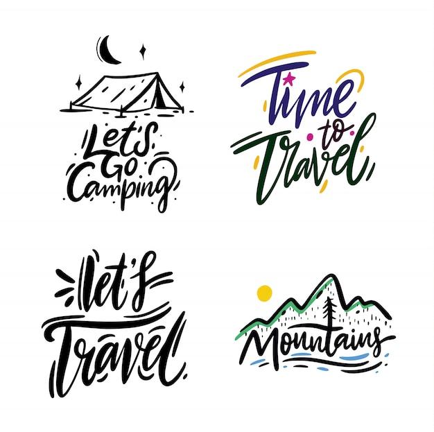 Podróże i przygoda fraza ręcznie rysowane wektor napis. czarny atrament. na białym tle. styl kreskówki.