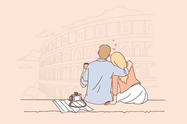 Podróże i wakacje w koncepcji rzymu