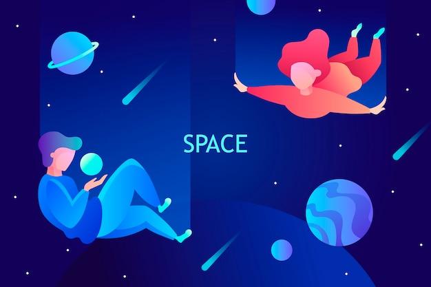 Podróże kosmiczne wirtualna rzeczywistość wyobraźnia ilustracja nowoczesne technologie