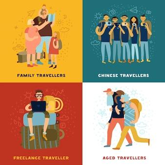 Podróże porady koncepcja ikony zestaw z rodzinnymi symbolami podróży płaskie na białym tle