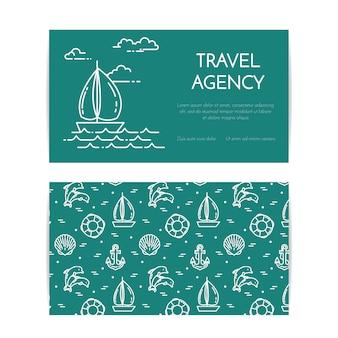 Podróże poziomy baner z żaglówką na falach. wzór z akcesoria do odpoczynku morze. płaska linia sztuki. ilustracji wektorowych. koncepcja podróży, turystyka, biuro podróży, hotele wizytówki.